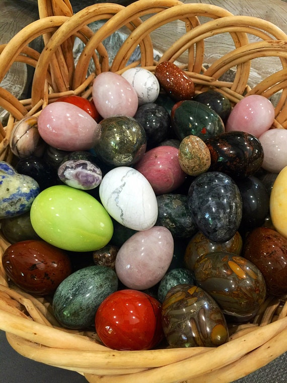 Natural hand carved Gemstone Eggs- Mystery Crystals variety and sizes for sale. Healing Home decor. Collectible Yoni eggs.