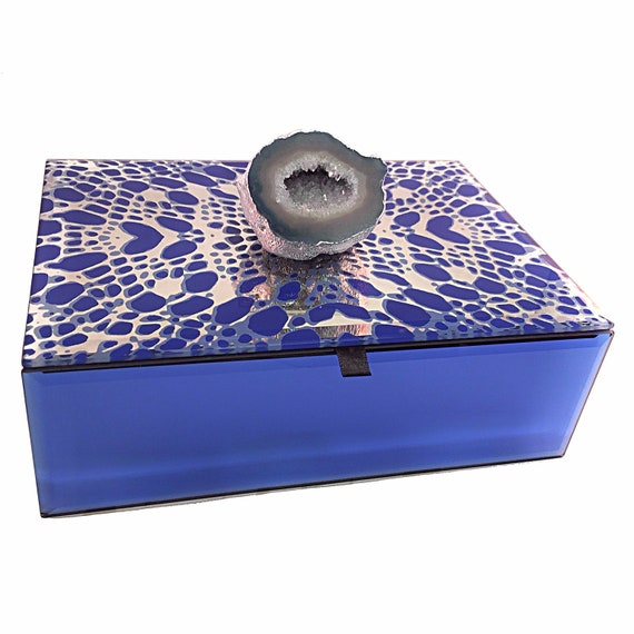 Blue Druzy Geode mirrored Decorative Box, saphire blue and silver beveled glass box, gemstone Valentine's Day gift, jewelry box