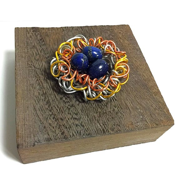 Mixed Metals, Decorative  Jewelry Box, Lapis, Gemstone Egg,Sculpture,Wire Art,Gemstone Box,Art,Sculpture Accent,Wire Art,Jewelry box