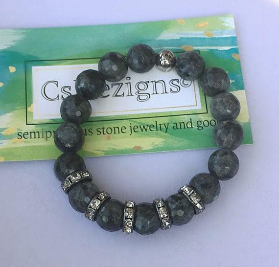 Labradorite Bracelet | Crystal Labradorite Jewelry | Gunmetal Pave | Gem Stone Bracelet | Birthstone Bracelet | Mens Women Bracelet