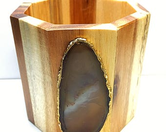 Agate and Acacia Wood Pencil Cup/ Luxury Organizer Desk Accessory/ Valentines Day Gift for HIM/ Executive Office Supplies Catchall Storage