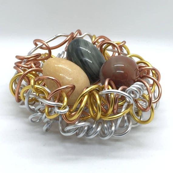 Mixed Metals,Wire Bird Nest,Gemstone Eggs,Jasper, Jade, Lapis, Fossil,Quartz,Sculpture,Wire Art,Art,Sculpture Accent,Wire Art, Home Decor