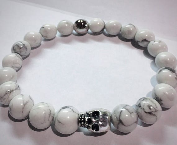White Howlite Beads and Pewter Skull Bracelet, Valentines Day Gift, White Jewelry, mens bracelet, womens jewelry, buffalo turquoise, Wedding