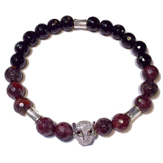 Unisex Garnet Bracelet, January Birthstone Jewelry, 2nd Anniversary, Pave Leopard, Panther, Onyx, Chakra Bracelet, Garnet Jewelry, Zircon CZ