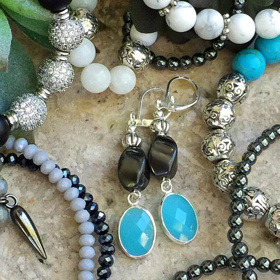 Chalcedony Blue Earrings, Hematite Drop Earrings, Aqua Stone Earrings, Silver Bezel, Silver Dangle, Silver Drop, Tiffany Blue Earrings