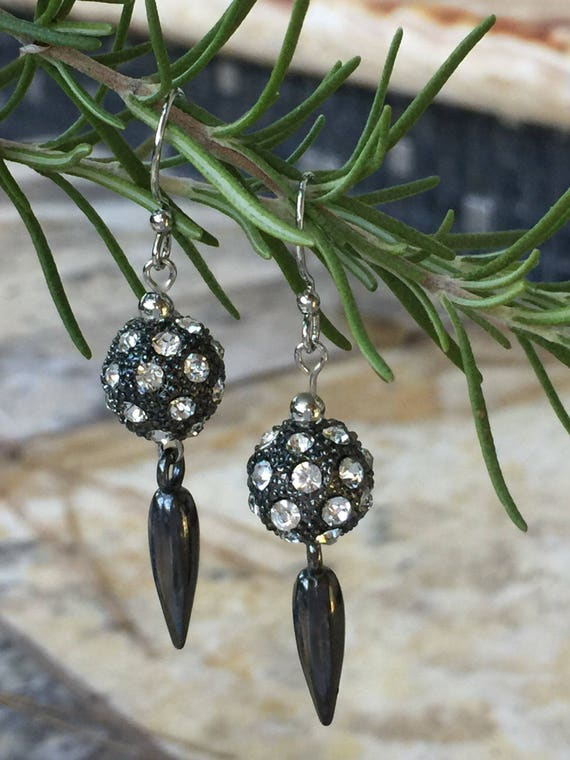Gunmetal Pave Crystal Earrings, Gunmetal Spike Charm, Gunmetal Crystals Ball, Rhinestone Pave Drop, Crystal Earrings, Gunmetal Ear Wire