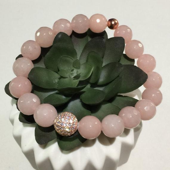 Rose Gold Quartz Bracelet | Micro Pave | Birthstone Bracelet | Gemstone Bracelet | Mothers Bracelet | Mom Bracelet | Women Bracelet Pink