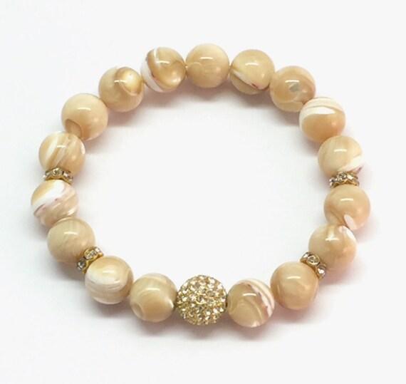 Beige Bead Bracelet, MOP, Mother of Pearl, CZ Pave, Pave Bracelet, BoHo, Gold Pave Bead, Beaded Bracelet, Stone Beads Bracelet