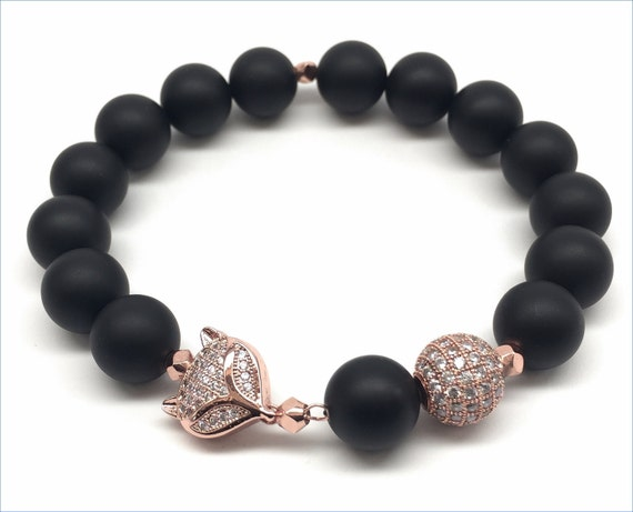 Black Onyx Fox Bracelet, Rose Gold, Micro Pave, Gemstone Bracelet, Black Jewelry, Beaded Bracelet, Matte Black Onyx , Rose Gold Jewelry