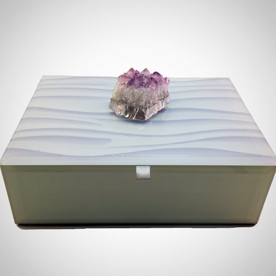 Amethyst cluster glass Jewelry Box, february birthday gift, gemstone box, decorative box with amethyst display, tabletop storage, home decor