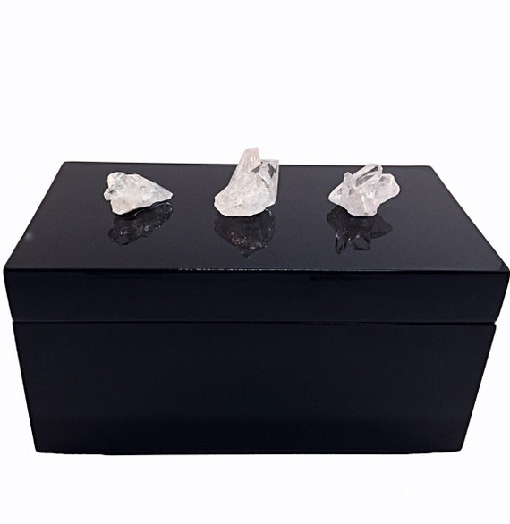 Black Lacquer Storage Box with three White Quartz Crystal Clusters gemstone decorative box, Home Decor, Valentines Day Gift, crystal box