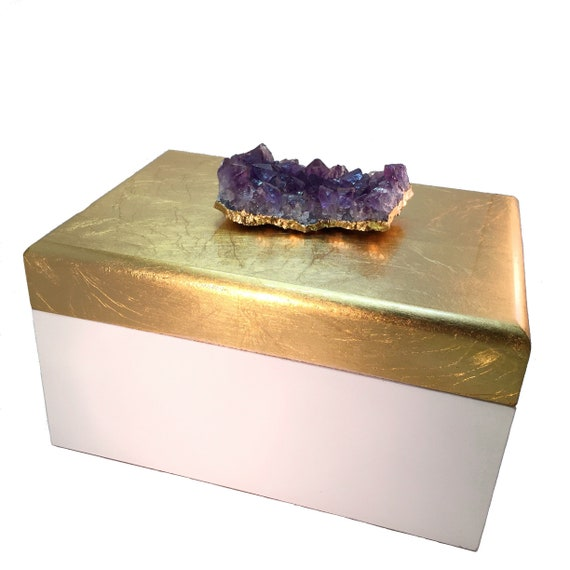 Large Amethyst crystal cluster Jewelry Box, brushed gold and white lacquer storage box, February birthstone gift for mom or wife, gemstone