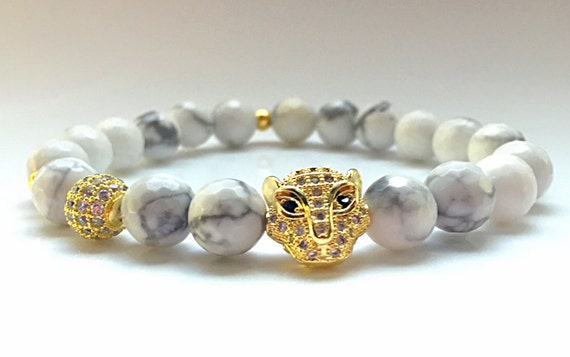 Authentic CZ Diamond White Howlite Bracelet, Leopard Bracelet, 14k Gold Jewelry, Pave Leopard Head, White Turquoise, Gemstone Bracelet