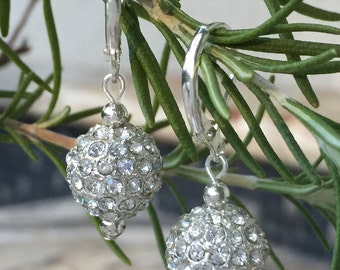 Silver Dangle Drop Earrings, Crystal Ball, Metal Rhinestone Ball, Silver Disco Ball, Leverback Silver Plated, Christmas, Wedding, Bridal