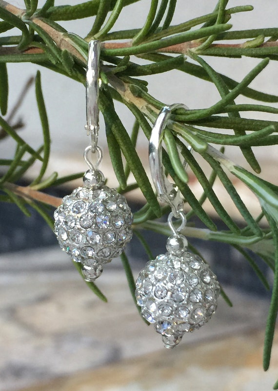Silver Dangle Drop Earrings, Crystal Ball, Metal Rhinestone Ball, Silver Disco Ball, Leverback Silver Plated, Christmas, Wedding, Bridal
