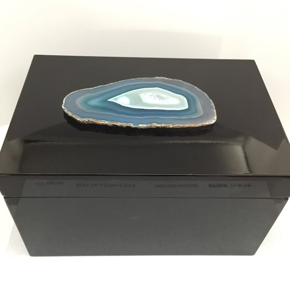 Extra Large Black Lacquer Storage Box with Blue /Teal Agate Geode display / Stunning Stone Home Decor, Valentines Day Gift Storage Solution