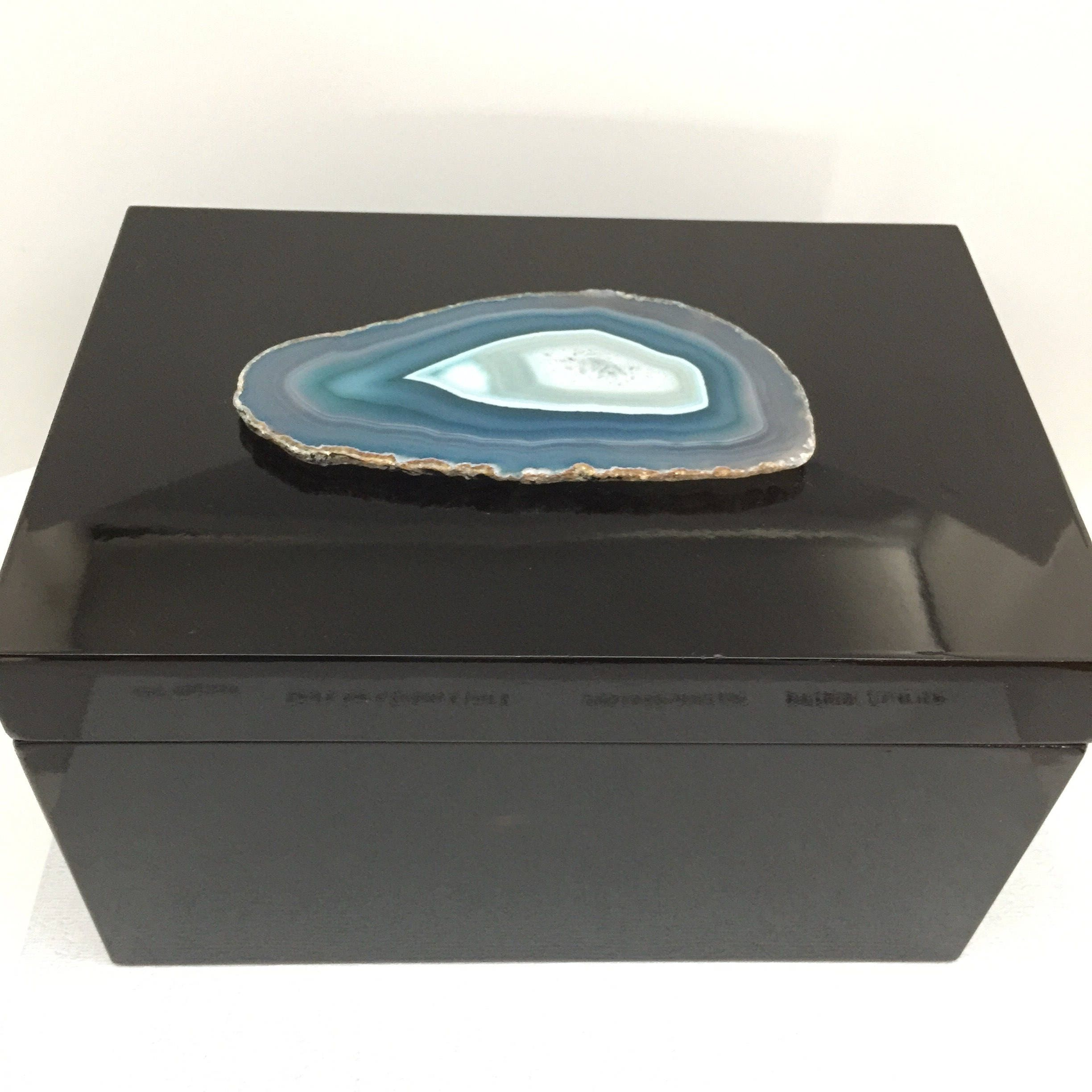 Extra Large Black Lacquer Storage Box With Blue Teal Agate Geode