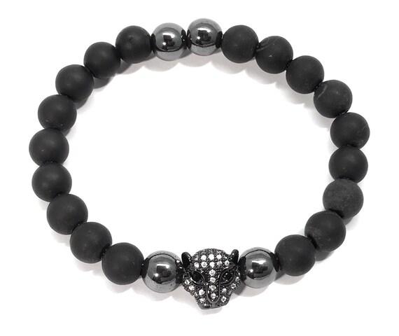 Black bracelet,onyx bracelet,Leopard Head,micropave,hematite,CZ Diamond Bracelet,men's bracelet,Onyx and Hematite,Men's & Woman's Bracelet
