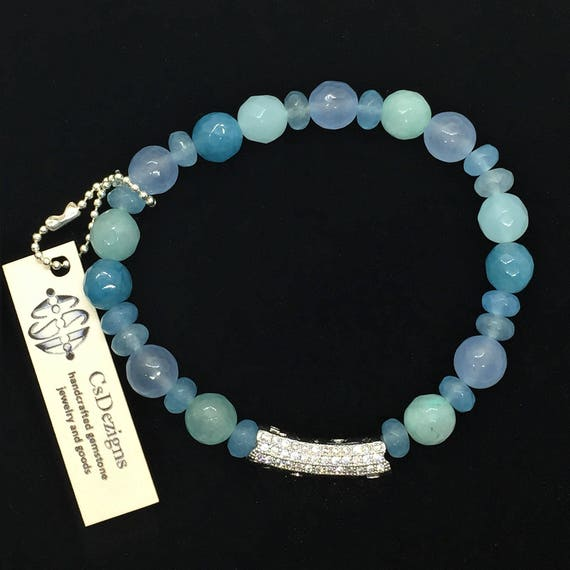 Blue Sea Green Chalcedony Gemstone Bead Stretch Bracelet. LOVE inscribed pave CZ, Valentines Day Gift for her. Jasper Agate Healing Jewelry