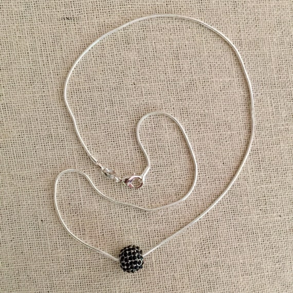 Minimalist Silver plated Jet Black Pave Ball Necklace, Jet Pave Jewelry, Black Pave, Silver plated Snake Chain, Men's or Women's necklace