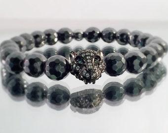 Hematite Bracelet, Black Leopard Head, CZ diamond Bracelet, faceted Black Hematite beads, Men's or Women's Bracelet
