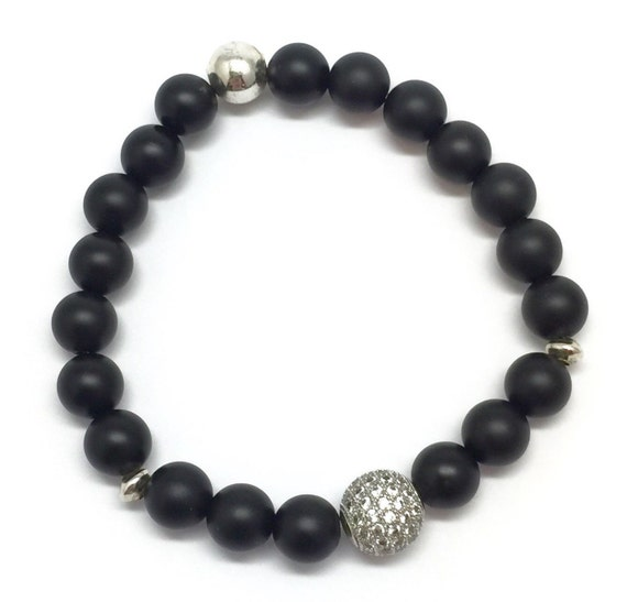 Black Onyx Unisex Bracelet | 10mm Sterling Silver Micro Pave Diamonds CZ | Silver Plated Beads Bracelet | Beaded Bracelet