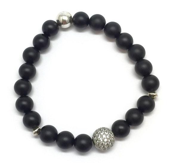 Black Onyx Unisex Bracelet | 10mm Sterling Silver Micro Pave Diamonds CZ | Silver Plated Beads Bracelet | Beaded Bracelet