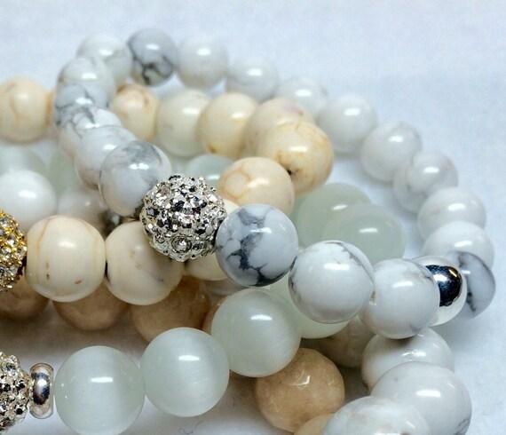 White howlite bracelet,Silver Bead bracelet,Wedding bracelet,bridesmaid gift,men's bracelet,women's bracelet,white jewelry,white Turquoise