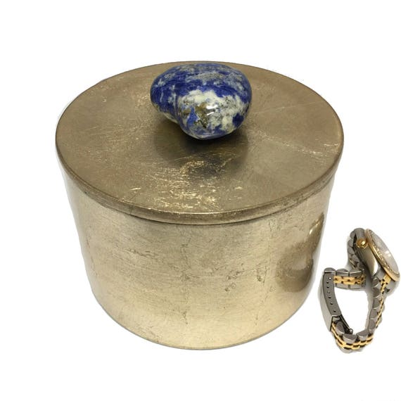 Sodalite Quartz Gemstone HEART Gold Lacquer Box, Valentines Day Gift for Her, Heart Jewelry Keepsake Box, Valentines Day Box, Vanity Storage