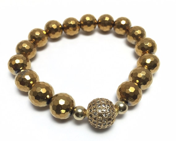 Gold Hematite bracelet women, Hematite jewelry,  gold magnetic bracelet, Minimalist jewelry, Minimalist accessories, Yoga Bracelet Bracelet