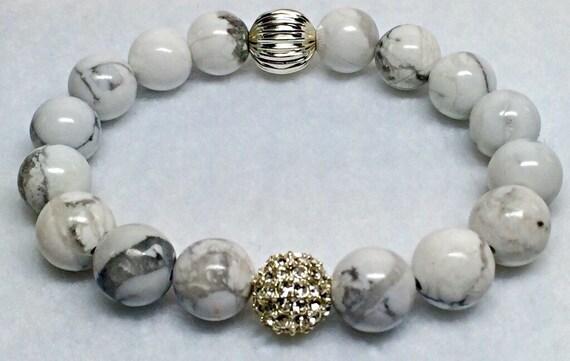 White Howlite Gemstone Bracelet | Wedding Bracelet | Silver Beaded Bracelet | Silver Pave | White Bracelet | Healing Bracelet |White Howlite