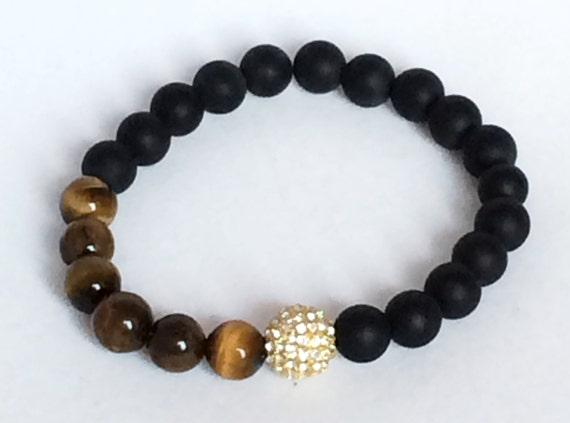 Tiger Eye and Onyx Bracelet, Gold Cz Pave Bead, Black Onyx, Tiger Eye Beads Jewelry, Onyx Jewelry, Boho, Men, Women, Gemstone Jewelry