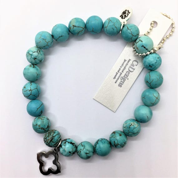 Turquoise Beads Stretch Bracelet, Stainless Steel Charm Quatrefoil Good Luck Clover Friendship Jewelry, Phi Mu boho yoga healing jewelry