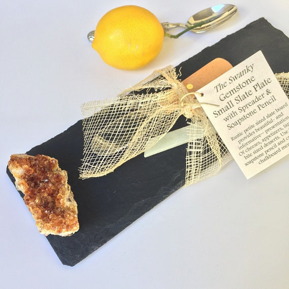 Slate & Gemstone Serving Tray / Board for Cheese, Tapas Plate, Small Bites Appetizer Display, CitrineTableware Gift with Accessories