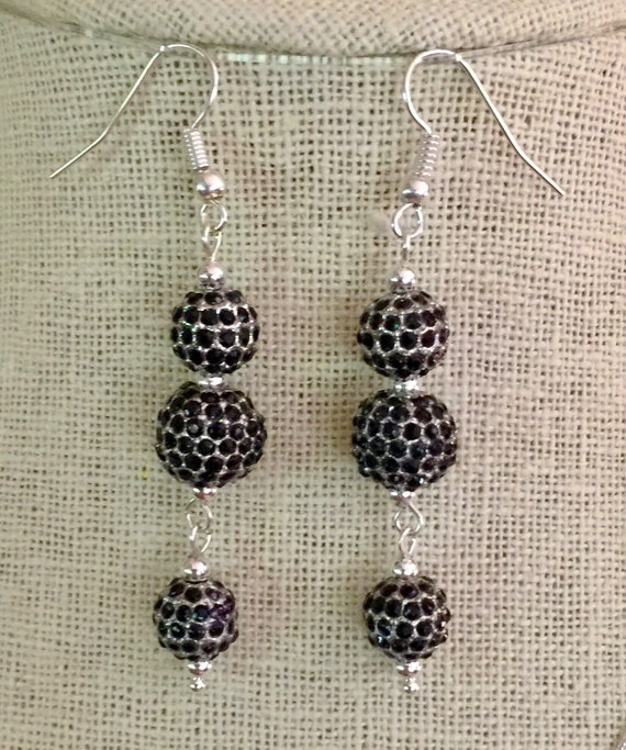 Triple Jet Black Pave Crystal Dangle Earrings, Black Silver Drop Earrings, Gold CZ Pave Earrings