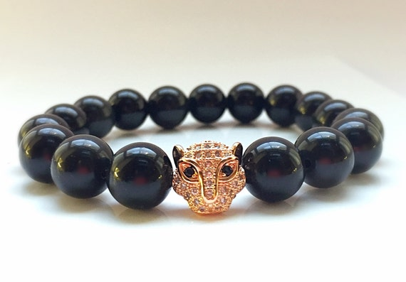 18kt Rose Gold Leopard Head, 11mm CZ Diamond Bead With 10mm Glossy Black Onyx Bracelet, Black Onyx Beads, Men's or Women's