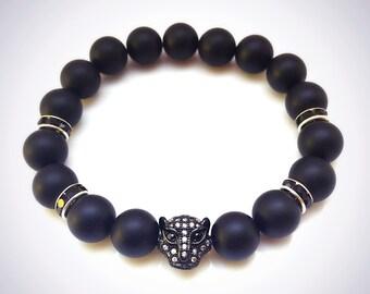Black Onyx Bracelet, Leopard Pave, Micro Pave Panther Bracelet, Black Jewelry, Black Gemstone Bracelet, Black Panther, Mens Bracelet