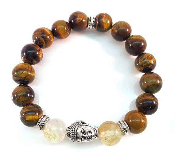 Yoga Buddha Tiger Eye beads w Pewter Buddha Smokey Quartz beads Unisex Bracelet