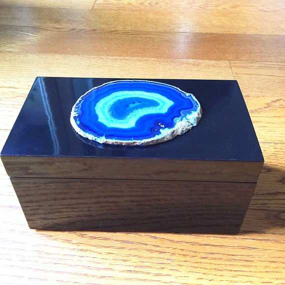 Blue Agate | Black Lacquer Storage Box, luxe crystal geode slice coffee table display, home gemstone decor, great gift!