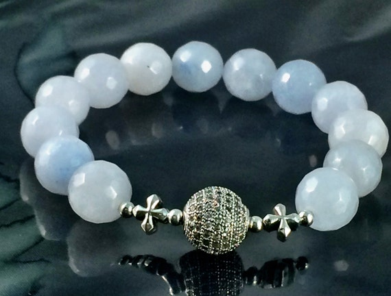 Blue Jade Bracelet, 12mm, Silver Pave Bead, Sterling Silver, Stretch Bracelet, Faceted Jade Beads, Blue Jade Bracelet