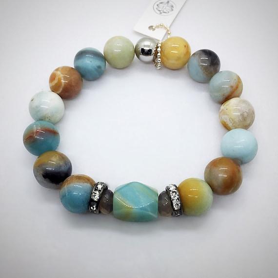 Amazonite Beads Bracelet, CZ Pave, Natural Stone, Pave Bracelet, Boho Jewelry, Beach Jewelry, Healing Protection Bracelet