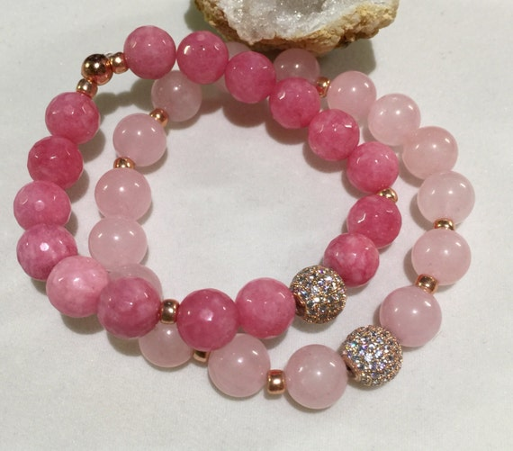 Rose Gold Micro Pave Bead | Rose Quartz Bracelet | Rose Gold Bracelet | Gemstone Bracelet | Beaded Bracelet | Stretch Healing Bracelet