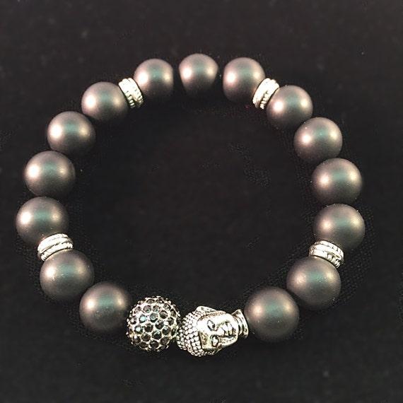 Black Onyx Bracelet, Pewter Buddha Head, Buddha jewelry, Black Pave bracelet, Silver Jet Crystal jewelry, mens bracelet, women's bracelet