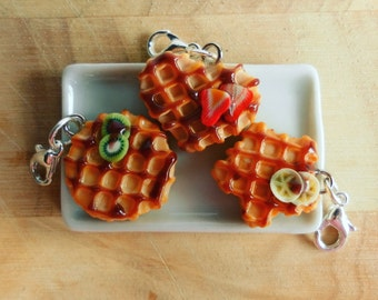 Waffles charm, polymer clay charm, waffles planner charm, stitch markers, phone charm, food charm, kawaii charm, miniature waffles