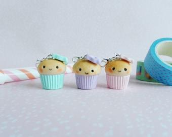 Cupcake charm, muffin charm, kawaii muffin, TN planner charm, Kawaii charm, polymer clay charm, cupcake polymer clay charm, kawaii cupcake