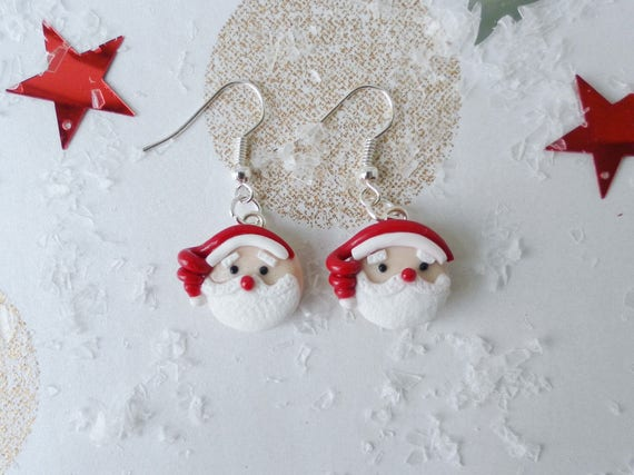 Polymer Clay Christmas Jewelry.Santa Claus Earrings Santa Earrings Polymer Clay Earrings Christmas Earrings Festive Earrings Christmas Jewellery Holiday Earring
