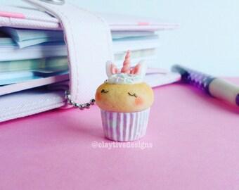 Unicorn cupcake charm, planner charm, Kawaii charm, TN planner charm, polymer clay charm, unicorn charm, kawaii cupcake, muffin charm