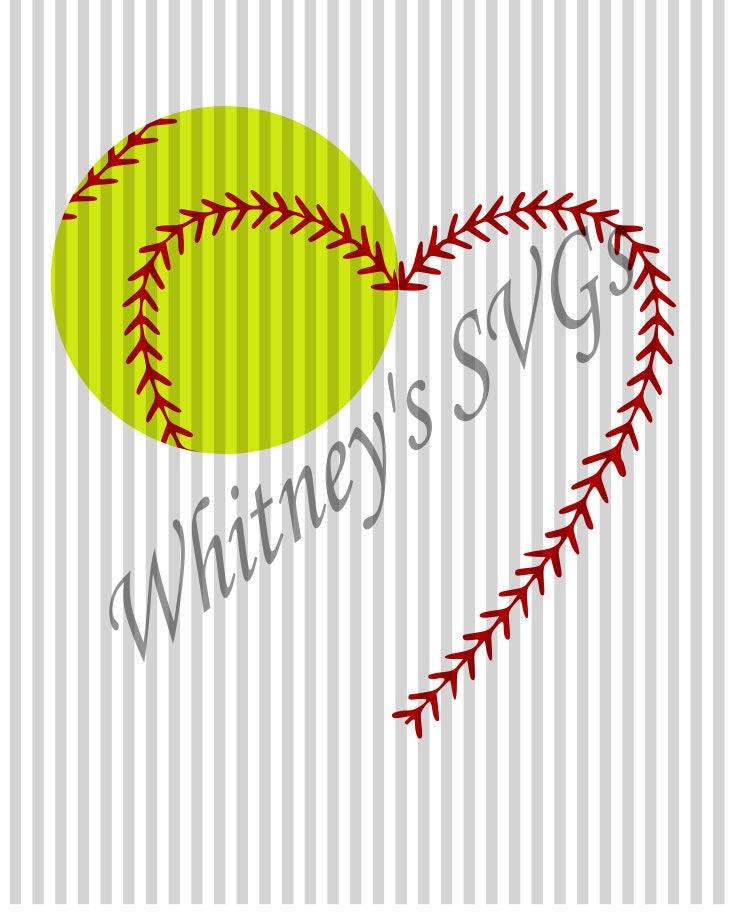Heart Softball Baseball Stitches Name Frame SVG DXF