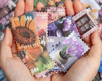 Stamp Washi Stickers, Colorful Botanicals - Decorative Translucent Stickers for Scrapbooking, Notebooks, Junk Journaling, Stationery