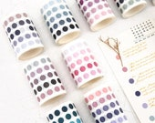 Dots Washi Tape - Die Cut Washi Circle Sticker, Individual Round Dot, Masking Tape for Crafts, Scrapbooking, Notebooks, Journaling, Planner